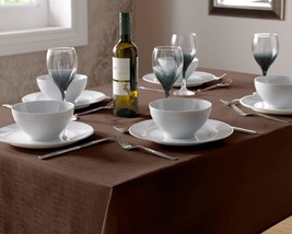 "CHOCOLATE BROWN LINEN LOOK TABLECLOTH 90CM (36"") ROUND - $6.83"