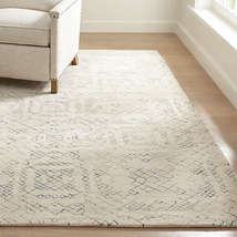 New 5x8 6x9 8x10 9x12 Azulejo Neutral Moroccan Style Hand Tufted Woolen Area Rug - $299.00+