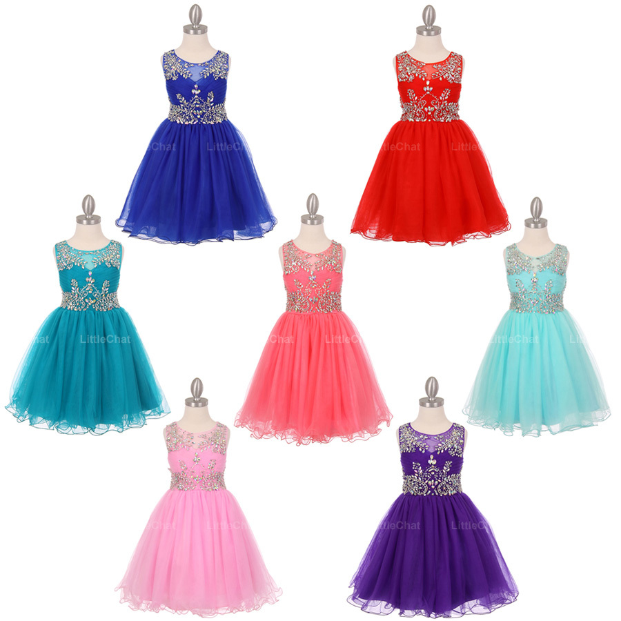 Red Unique Design AB Stone Bodice Open Back Tulle Wired Skirt Flower Girl Dress