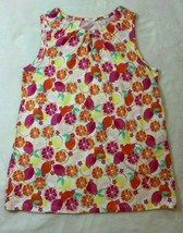 Land's End Girls Top Size 7 8 Fruity Tank Top Yellow Orange Shirt Spring... - $19.79