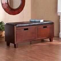 Entryway Storage Bench Hallway Hall 2 Drawer Espresso Black Wood Seat Cu... - £259.62 GBP