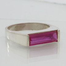 Lab Created Hot Pink Sapphire Ruby Unisex Handmade Sterling Silver Ring size 7.5 - £54.67 GBP
