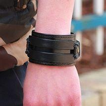 Men Fashion Good Matching Genuine Leather Wide Cuff Bracelet  Snap Butt Brawn - $17.17