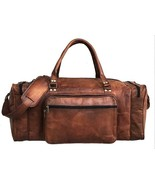 Retro Large Leather Gym Duffel Bag Overnight Weekend Travel Soft For Men... - $89.14