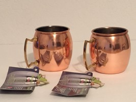 2x HAMMERED ~ MOSCOW MULE ~  COPPER PLATED MUG WITH BRASS HANDLE ~ 18 OZ. - $24.18