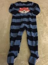 Carters Boys Blue Striped Orange Fox Fleece Long Sleeve Pajamas 18 Months  - $5.95