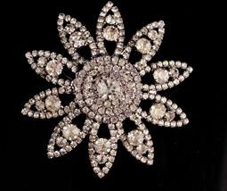 Large rhinestone starburst pin - Big stunning flower brooch - 1950s esta... - $125.00