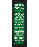 "Personalized Boston Celtics ""Family Cheer"" 24 x 8 Framed Print - $39.95"