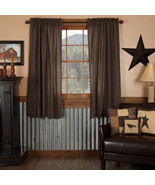Primitive Country Black Lined Window Curtains Kettle Grove Plaid Scallop... - $49.99