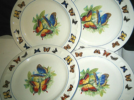 "4-pc Set Tabletops Unlimited Butterflies Dinner Plate 10 3/8"" Blue Strip... - $19.99"