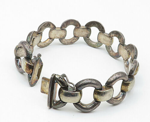 925 Sterling Silver - Vintage Two Tone Round Link Chain Bracelet - B4520