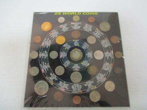 Vintage Sealed 25 World Coins Set Coin Album USA Nepal Sri Lanka Germany Bronze