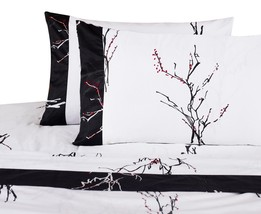 SHEET SET Magic Branches 300 TC Black Red Cherry Blossoms 100% Cotton Al... - $44.99