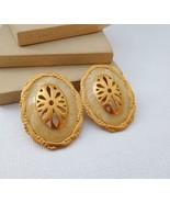 Vintage Large Cream Enamel Brushed Gold Tone Oval Clip On Earrings U17 - $16.82