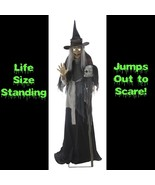 Life Size Animated Sound LUNGING HAGGARD EVIL WITCH Haunted House Hallow... - $188.07