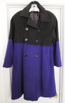 CAROL HORN Wool Swing Style Coat Double Breasted Black/Purple USA Size 4 - $79.95