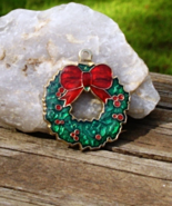 Small Holiday Wreath Pendant with Red and Green Enamel, Christmas Wreath - $1.00