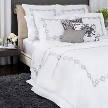 Sferra Argento Standard Pillowcases Grey Embroidery Cotton Percale Italy... - $95.00