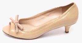 PRADA SPORT Patent Leather Nude Bow Peep Toe Pump Silver Kitten Heel Sz 37 image 4