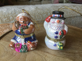 Lot of 2 Mr Christmas Musical Ornaments Trinket Box Musical Music Animated  - $30.39