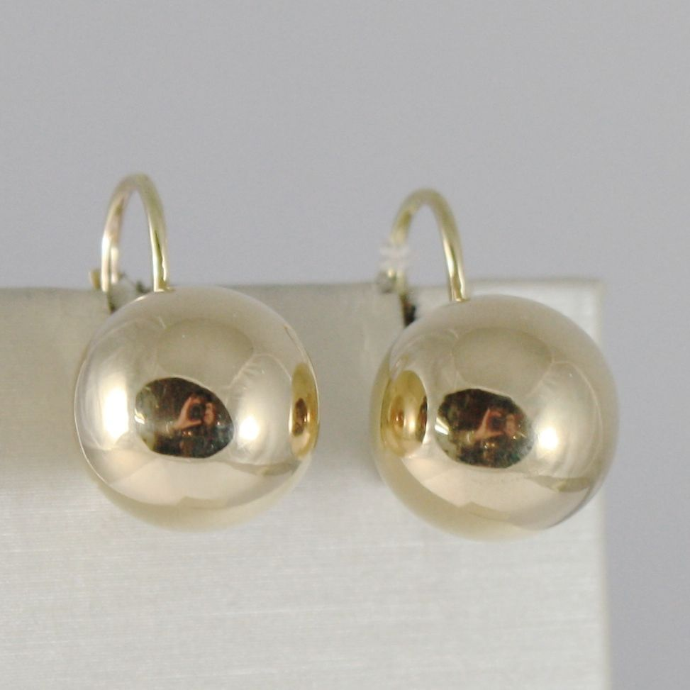 18K YELLOW GOLD LEVERBACK EARRINGS WITH BALLS BALL 12 MM DIAMETER MADE IN ITALY
