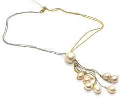 18k YELLOW WHITE GOLD DOUBLE CHAIN NECKLACE, WATERFALL MULTI WIRES PEARL PENDANT image 1