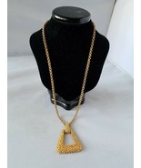 Sarah Coventry Vintage Signed Necklace Gold Tone Pendant Textured Fashio... - $21.59