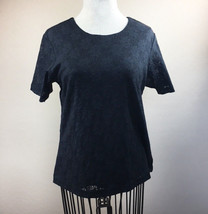 Womens Denim & Company Medium Black Lace Top Short SLeeves Lined - $6.19