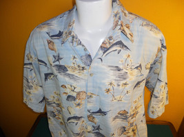 Aloha Hawaiian Campia Shirt Mens XXL Marlin Fish Town Sea Shells Starfish - $12.99