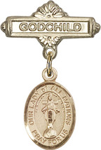 14K Gold Baby Badge with O/L of All Nations Charm Pin 1 X 5/8 inch - $468.56