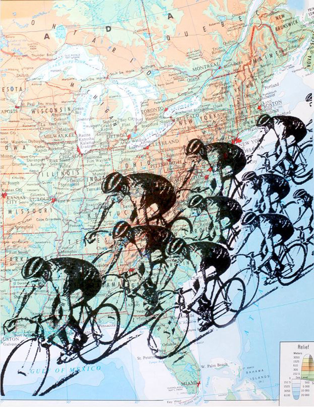 Art N Wordz Bike Cyclists Race Original Atlas Sheet Pop Art Print Wall/Desk Art