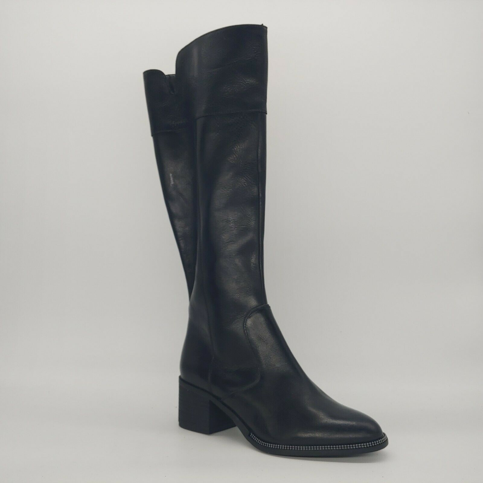Primary image for Franco Sarto Womens Lucianna Riding Boots Black Leather Block Heel Zip 8.5 M New