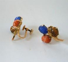 Vintage Ronci 12K Gold Filled Scarab Earrings Hand Carved Gem Stones Ita... - $23.75