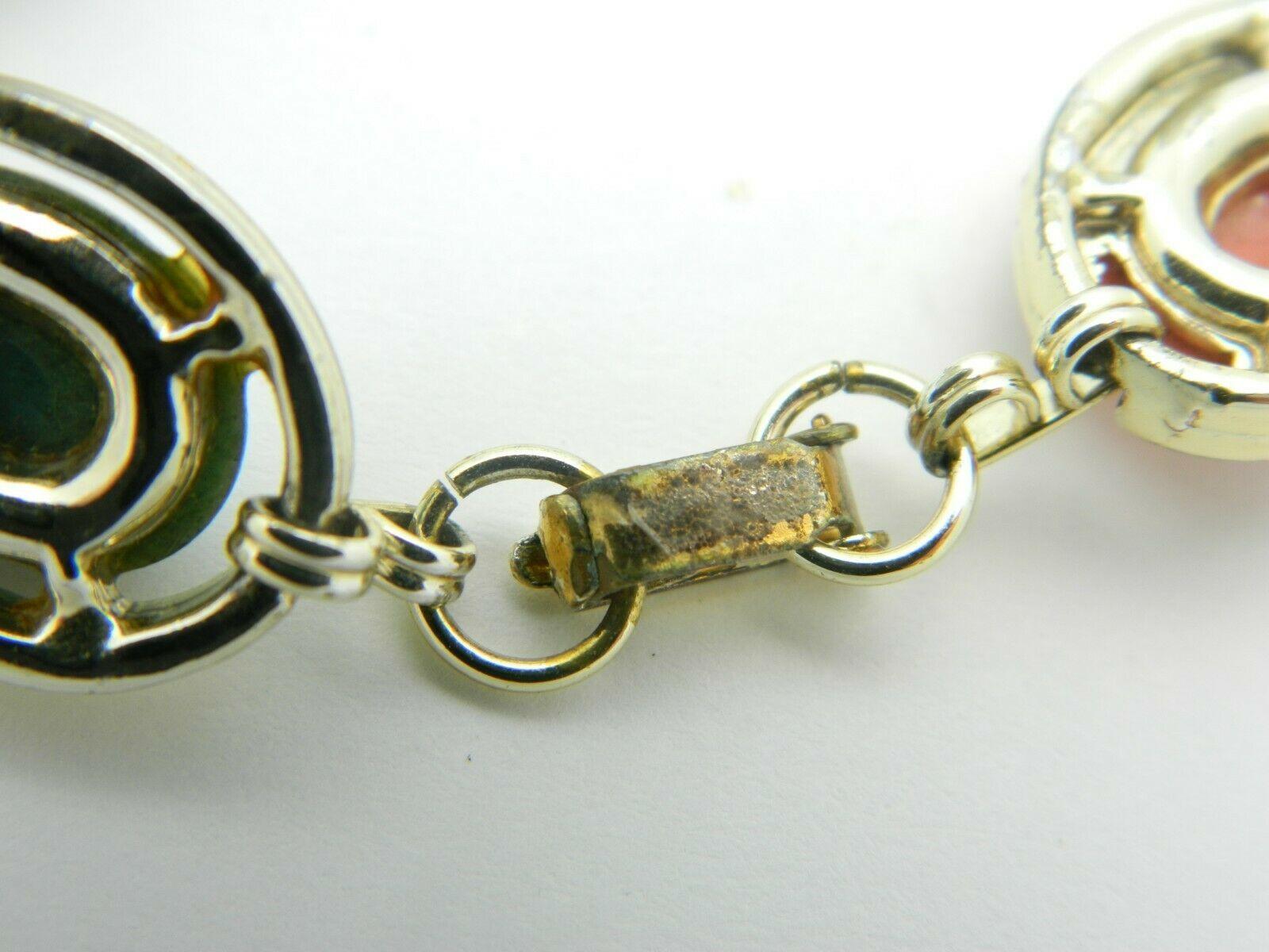 Multi-Color Lucite Carved Egyptian Scarab Gold Tone Bracelet Vintage image 5