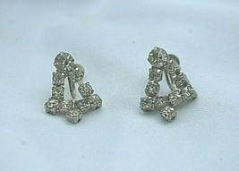 Bell Screw Back Dangle Earrings Rhinestones Silver Tone Vintage 50s Xmas... - $16.82