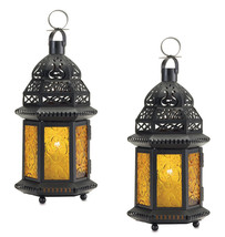 Two (2) hanging yellow glass moroccan metal candle holder patio table la... - $22.00