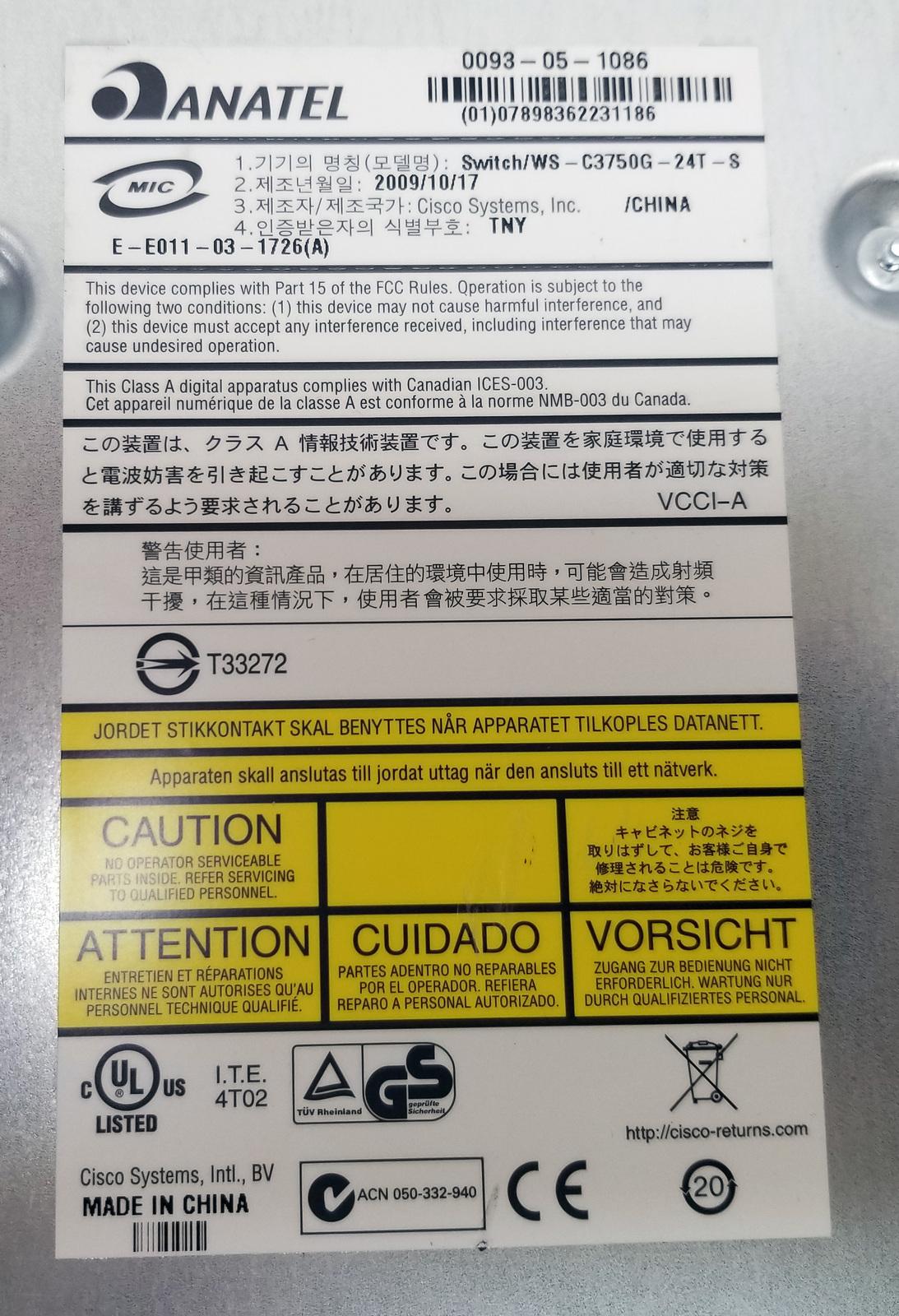Cisco WS-C3750G-24T-S V07 24 Port Gigabit Switch