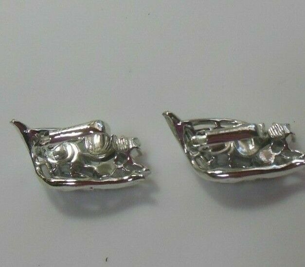 Vintage Signed Coro Silver-tone AB Rhinestone Floral Clip-on Earrings
