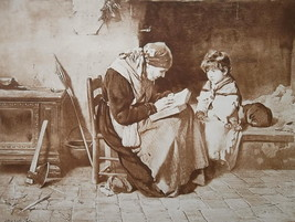 LITTLE GIRL Listens Grandmother Reading Book Fireplace - 1888 Etching Print - $16.20