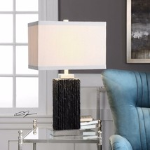 "MODERN 27"" SLABS OF BLACK CHISELED SLATE TABLE BUFFET LAMP BRUSHED NICKE... - $173.80"