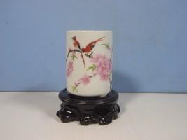 Vintage Jingdezhen porcelain flower bonsai potbirds plum blossoms stand ... - $21.16