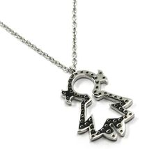 18K WHITE GOLD NECKLACE, BABY, CHILD, GIRL, DAUGHTER PENDANT DIAMONDS ROLO CHAIN image 4