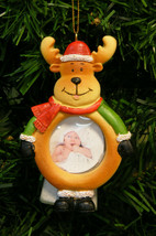REINDEER IN SANTA HAT MAGNETIC PICTURE FRAME CHRISTMAS TREE ORNAMENT - $8.88