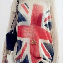 Cute UK Flag Print Thin Loose Hollow Out Pullover - $19.00