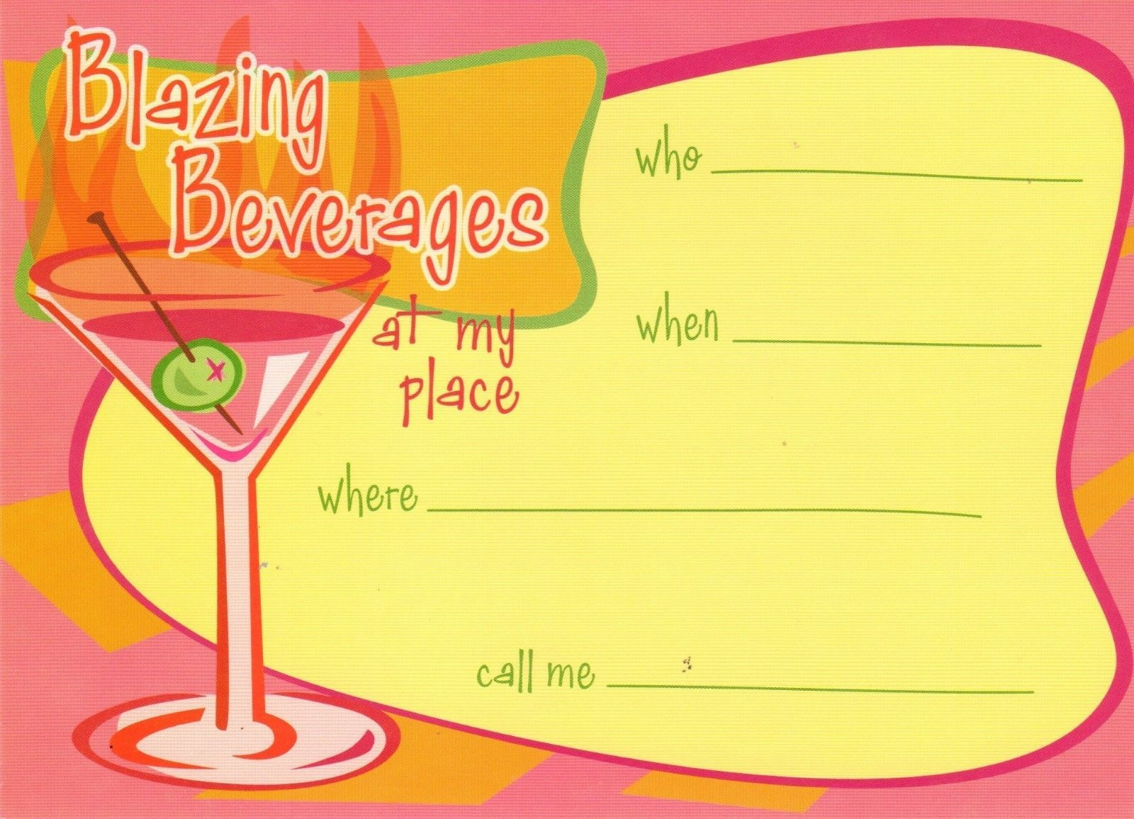 Blazing Beverages Cocktail Party Invitations 10 count Invitations and orange env
