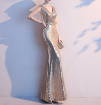 Women Gold Sequin Dress Cap Sleeve High Slit Sequin Maxi Wedding Dress,Plus Size image 3