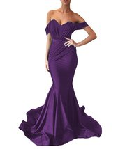 Women's Off the Shoulder Mermaid Evening Dresses Long Spandex Formal Party Gown image 4