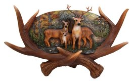 Ebros Large Rustic Woodlands Antlers Scene Deer Buck Doe and Fawn Family Wall Pl - $34.59