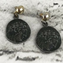 Greek Inspired Medallion Earrings Vtg Costume Jewelry - $24.74