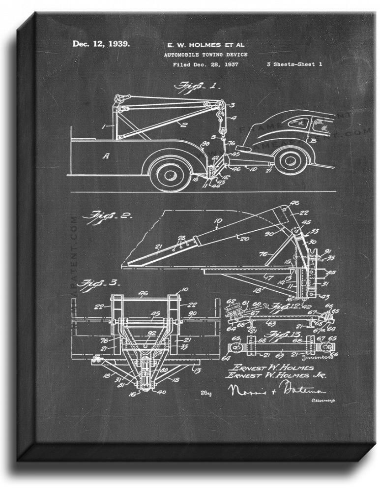 Primary image for Automobile Towing Device Patent Print Chalkboard on Canvas